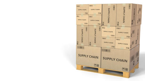 Boxes with SUPPLY CHAIN caption. Conceptual 3D animation Footage