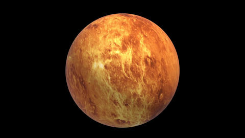 Rotating Venus, super realistic landscape, 3D video, footage, black background Animation