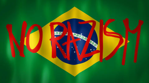 Brazilian flag with the inscription no racism, ideal footage to represent the Footage