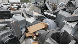 Electronic junk. Electronic waste collection point. Recycling Footage