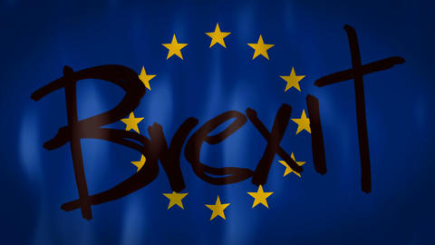 European flag with the words Brexit, ideal footage to represent the concept of Footage