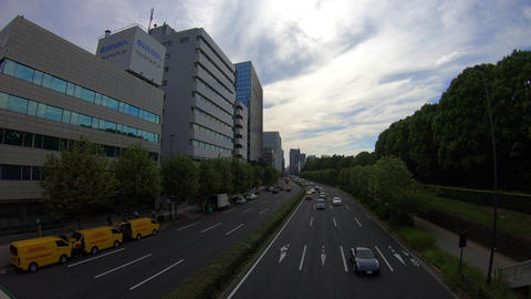 Time lapse at s-shaped avenue in Akasaka wide shot deep focus Footage