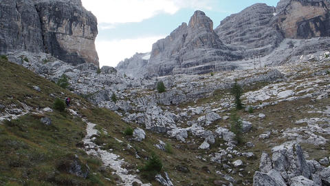 Male mountain climber, Dolomites Mountains in Italy. Travel adventure concept Footage