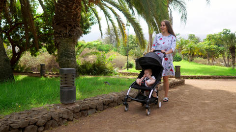 Mom walks with a child in the Park with palm trees Child sitting in a wheelchair Live Action