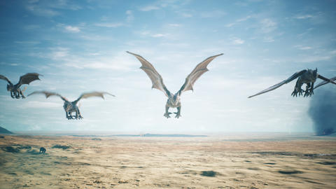 Dragons flying over vast desert 3D animation fantasy background Animation
