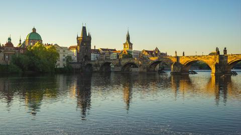 Prague city skyline timelapse in Prague, Czech Republic time lapse Footage
