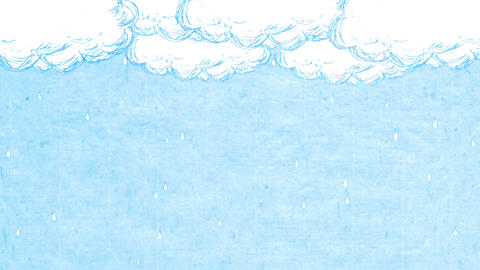 Handwritten animation style rain and cloud_ Light blue paper Animation