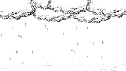 Handwritten animation style rain and cloud_ white Animation