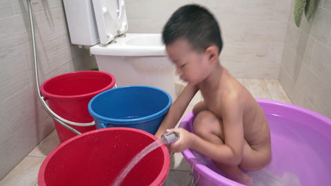 Children bathing in bathroom Footage