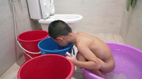 Children bathing in bathroom Stock Video Footage