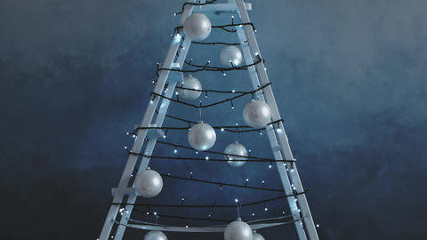 Stepladder decorated with garland, Christmas tree decorations Footage