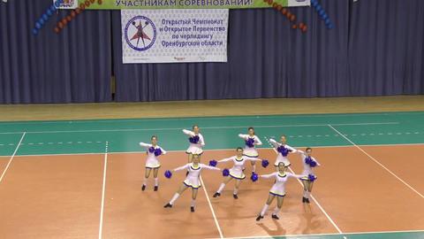 Orenburg, Russia - April 17, 2016 year: Open cheerleading Championship Orenburg Footage