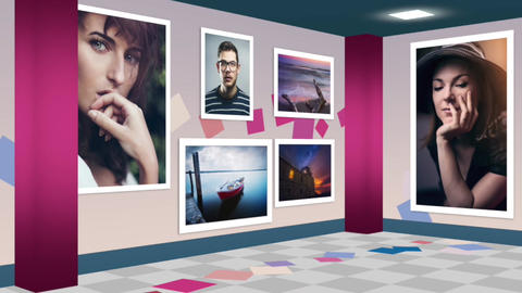 Photo Exhibition walkthrough animation Apple Motion Template