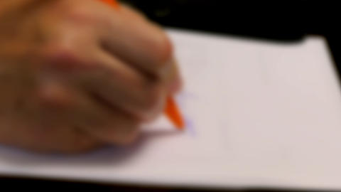 Female Writes Note With Pen Fast Blur Footage