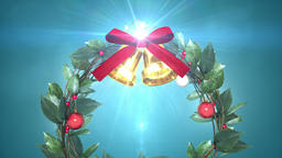christmas wreath with shining light _ blue background 애니메이션