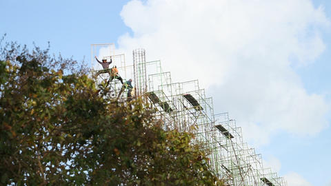Construction workers are building scaffolding, thailand Footage