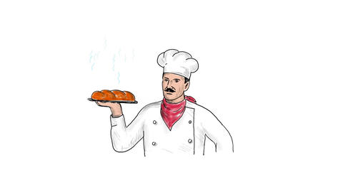 Baker Serving Loaf of Bread Drawing 2D Animation Animation