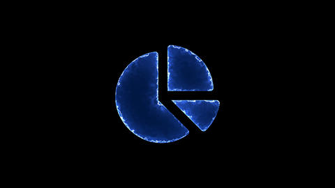Symbol chart pie. Blue Electric Glow Storm. looped video. Alpha channel black Animation