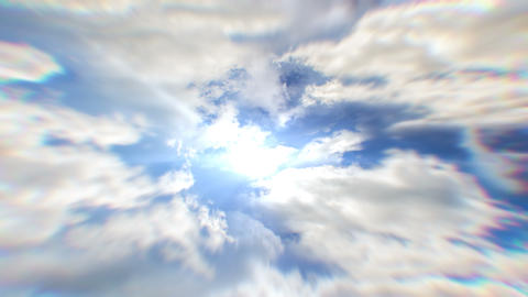 White clouds flying blue sky time lapse. Cumulus clouds fast flying sky Animation