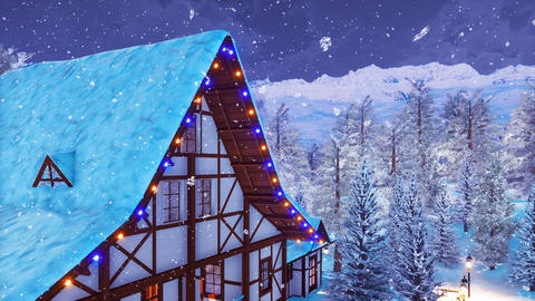 Half-timbered mountain house at snowy winter night 영상물