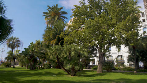 Massena Museum and garden with exotic green trees in Nice, exterior of villa Footage