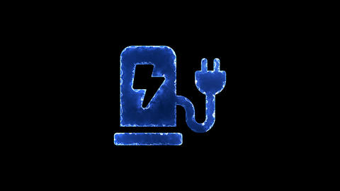 Symbol charging station. Blue Electric Glow Storm. looped video. Alpha channel Animation