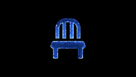 Symbol chair. Blue Electric Glow Storm. looped video. Alpha channel black Animation