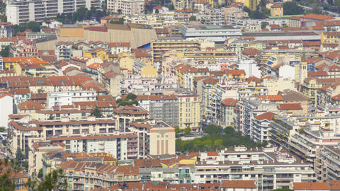 Panorama of residential buildings in Nice resort city, real estate in France Live Action