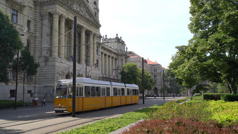 A yellow tram in Budapest Footage
