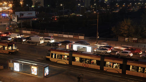 Warsaw, Poland 6K traffic time lapse evening to night Live Action