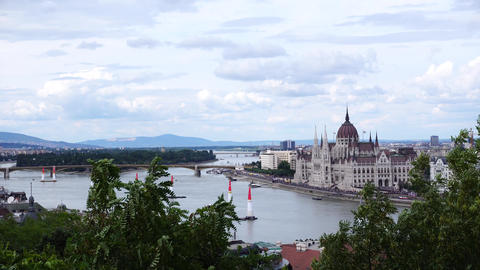 Helicopters over budapest Footage