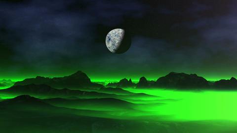 Green Mist over Alien Planet Animation