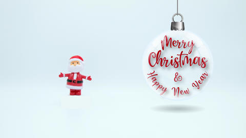Santa Claus Merry Christmas and Happy New Year Distant on white Footage