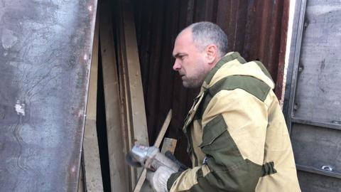 male welder working, slow GIF