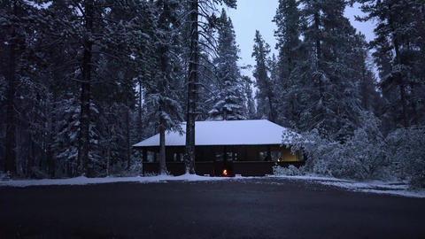 Single Hut in a ice cold snowy forest shelter and cover from the elements Footage