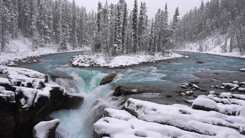 Slow Motion 100fps Sunwapta Falls and river on the icefield parkway Live Action