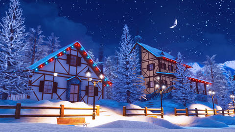 Cozy snow covered mountain village at winter night Animation