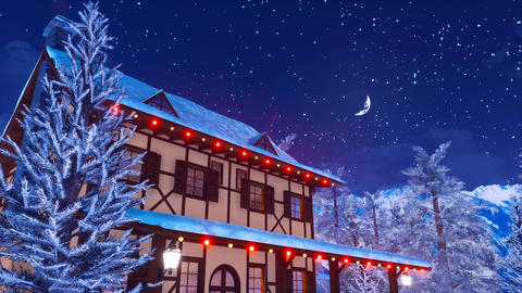 Illuminated european rural house at winter night Animation