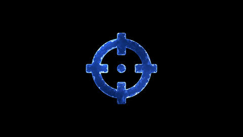 Symbol crosshairs. Blue Electric Glow Storm. looped video. Alpha channel black Animation