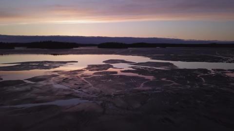Aerial view of springtime sunset lake Footage