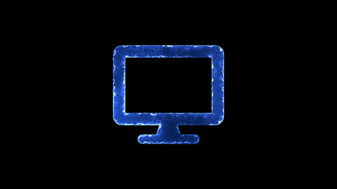 Symbol desktop. Blue Electric Glow Storm. looped video. Alpha channel black Animation