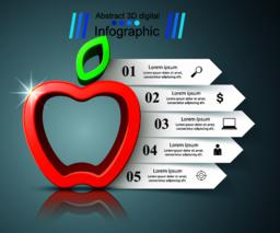 Paper business infographic. Apple icon Vector