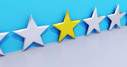 VIP Star gold. Symbol for quality or a favorite. 3d Animation CG動画