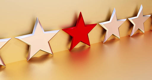 Animation of a red VIP star in front of golden background. Symbol for a favorite Animation