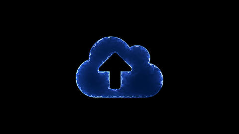 Symbol cloud upload. Blue Electric Glow Storm. looped video. Alpha channel black Animation