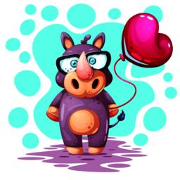 Cute, funny, pretty rhino with balloon Vector
