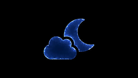 Symbol cloud moon. Blue Electric Glow Storm. looped video. Alpha channel black Animation