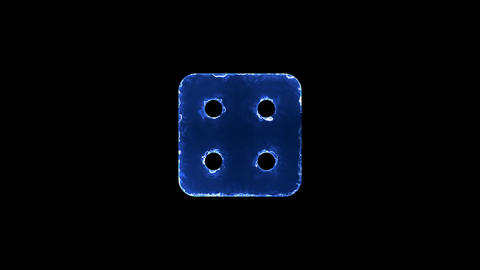 Symbol dice four. Blue Electric Glow Storm. looped video. Alpha channel black Animation