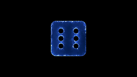 Symbol dice six. Blue Electric Glow Storm. looped video. Alpha channel black Animation