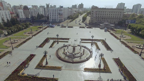 top aerial view over the fountain on the square Russia Khabarovsk Lenin square Footage